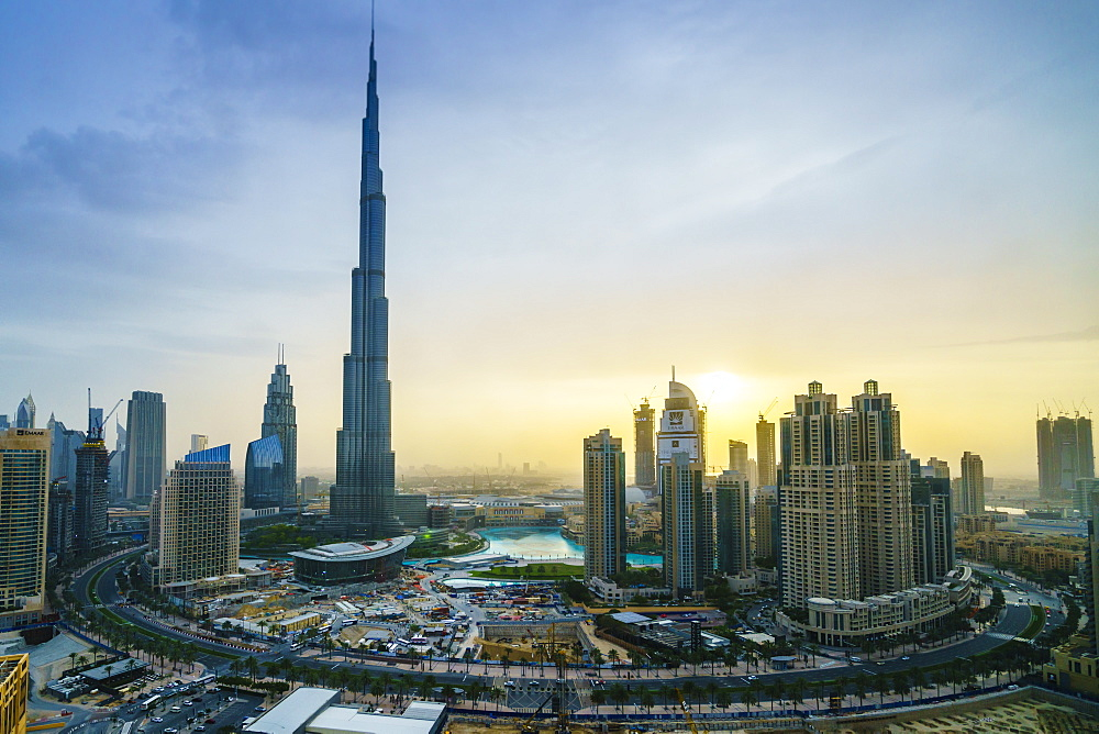 Burj Khalifa and Downtown Dubai at sunset, Dubai, United Arab Emirates, Middle East