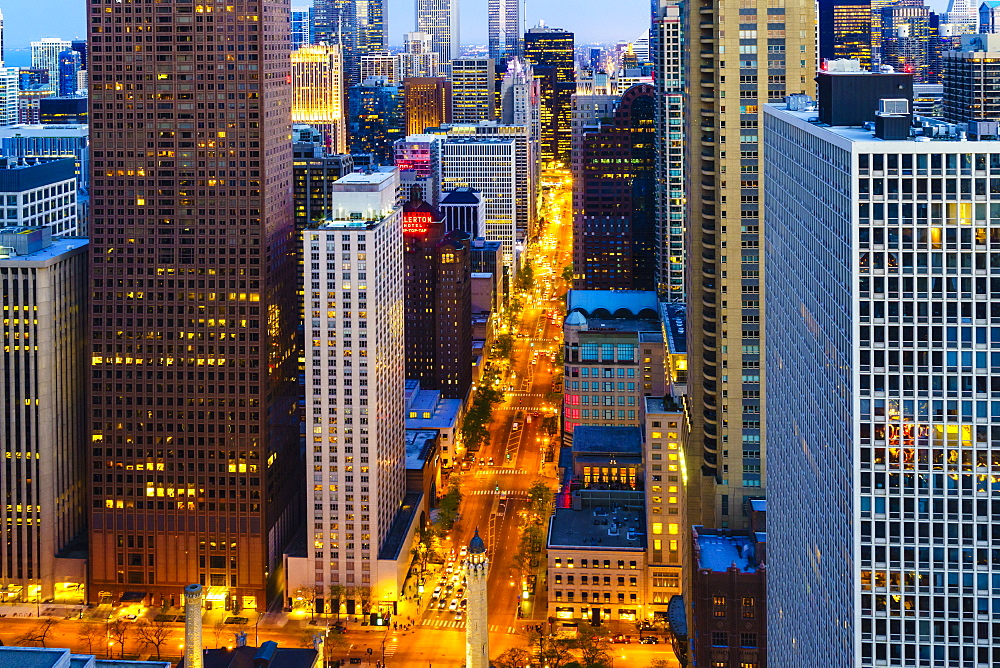 Chicago skyscrapers and North Michigan Avenue at dusk, Chicago, Illinois, United States of America, North America - 1226-191