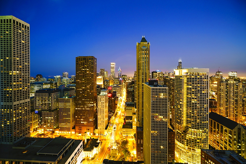 City skyline by night, Chicago, Illinois, United States of America, North America