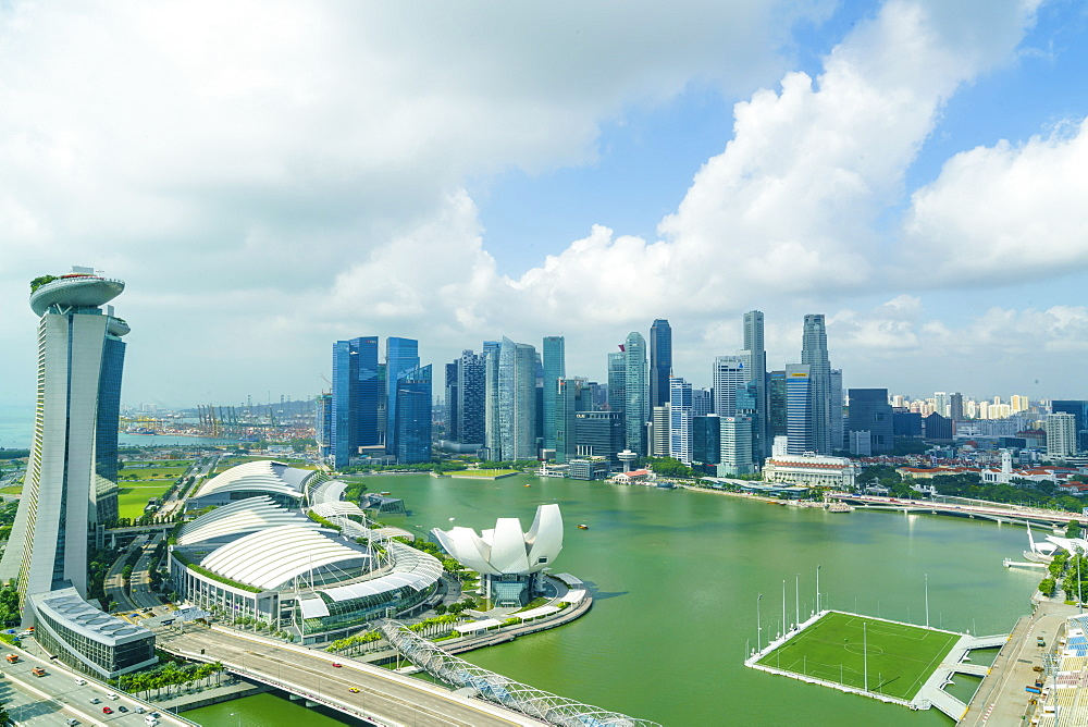 The towers of the Central Business District and Marina Bay in the morning, Singapore, Southeast Asia, Asia