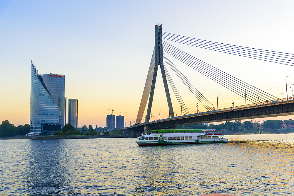 Vansu Bridge over Daugava River, Riga, Latvia, Europe
