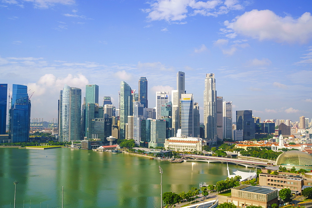 The towers of the Central Business District and Marina Bay in the early morning, Singapore, Southeast Asia, Asia