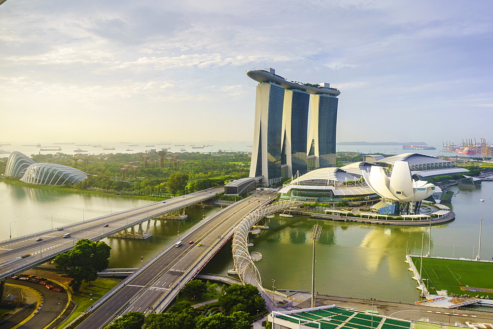 Roads leading to the Marina Bay Sands, Gardens by the Bay and ArtScience Museum at sunrise, Singapore, Southeast Asia, Asia