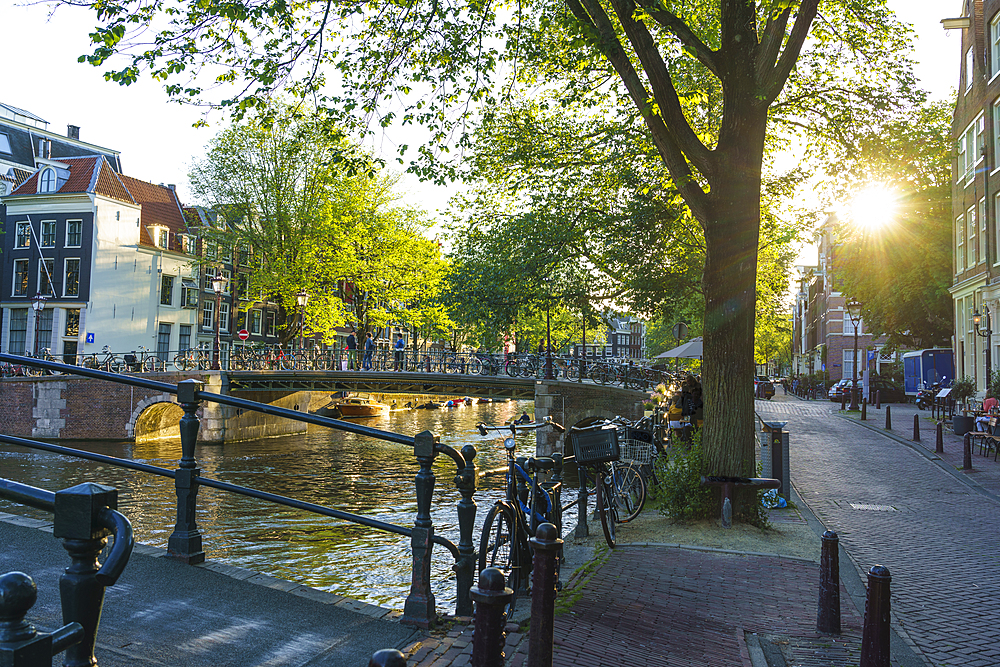 Golden hour light, Brouwersgracht Canal, Amsterdam, North Holland, The Netherlands, Europe