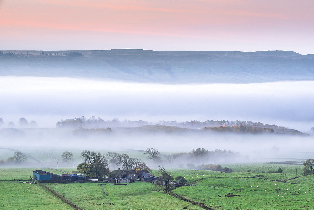 Mist rising over East Halton and Embsay in Lower Wharfedale, North Yorkshire, Yorkshire, England, United Kingdom, Europe - 1228-157