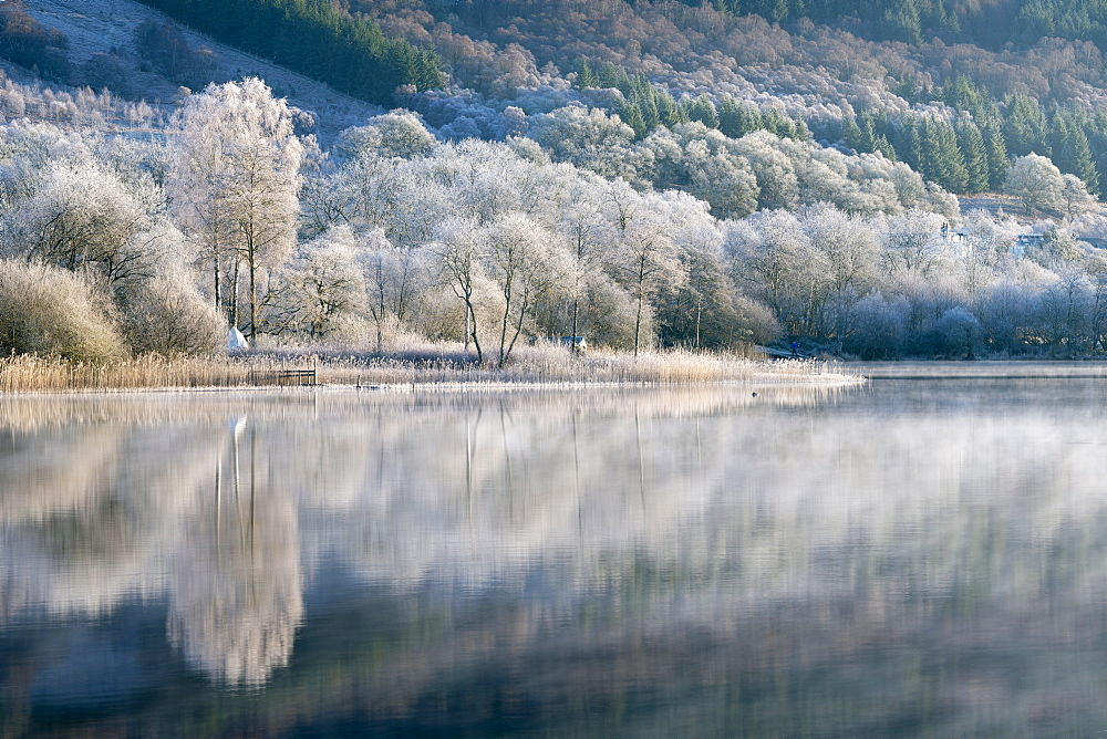 Loch Ard partially frozen over and a hoar frost around Aberfoyle in the Loch Lomond and the Trossachs National Park in mid-winter, Stirling District, Scotland, United Kingdom, Europe - 1228-172