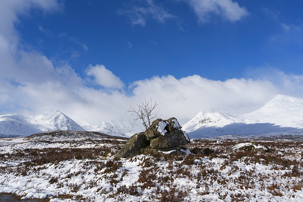Snow capped Black Mount and Rannoch Moor, Argyll and Bute, Scotland, United Kingdom, Europe