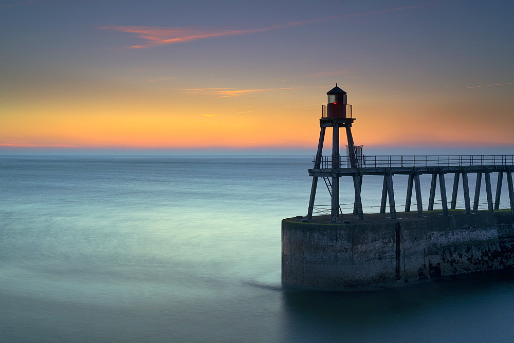 Daybreak over Whitby East Pier and lighthouse, North Yorkshire, England, United Kingdom, Europe - 1228-202