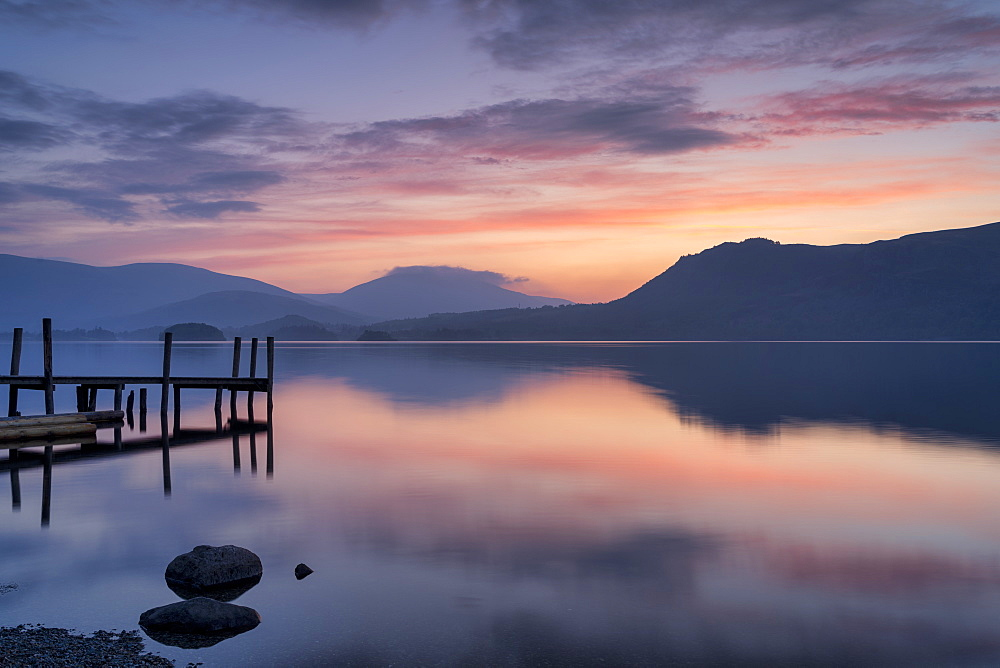 Brandlehow Jetty at dawn, Lake Derwent Water, The Lake District, England.
