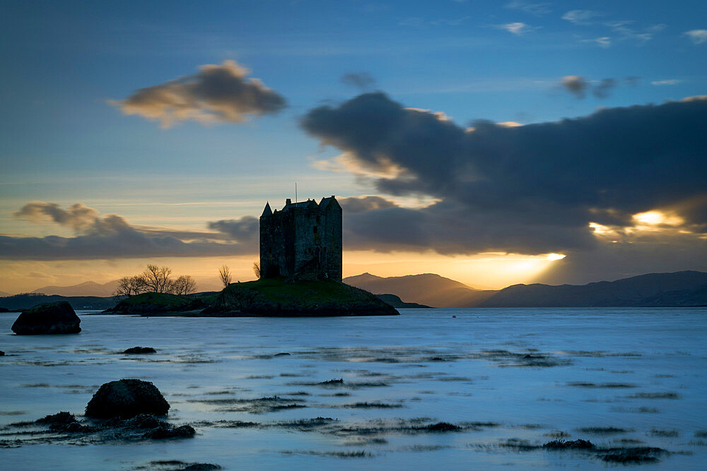 Sunset over Loch Linnhe and Castle Stalker, Highland, Appin, Scotland.
