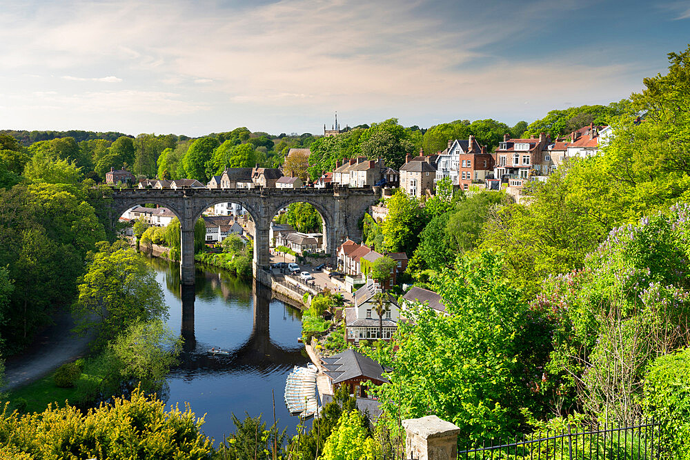 Knaresborough viaduct and the River Nidd in springtime, UK.