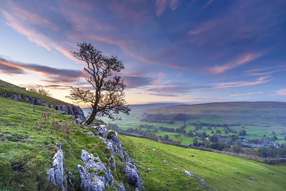 Dawn light over Arncliffe village in Littondale, North Yorkshire, Yorkshire, England, United Kingdom, Europe - 1228-224