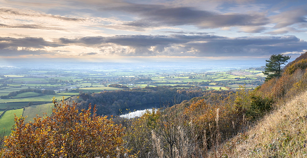 Late autumn colours around Lake Gormire viewed from Sutton bank, along The Cleveland Way footpath.