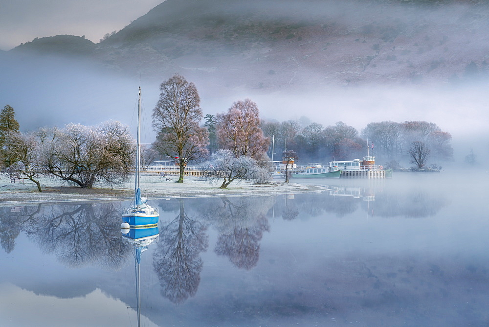 Dawn light over Glenridding on Ullswater, Lake District National Park, UNESCO World Heritage Site, Cumbria, England, United Kingdom, Europe - 1228-232
