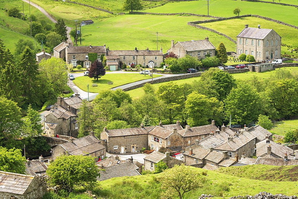 Langthwaite village rooftops, Arkengarthdale, Near Reeth, The Yorkshire Dales national Park, England.