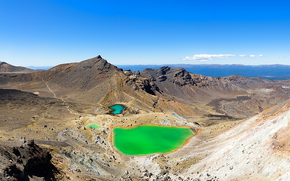 The Tongariro Crossing crosses 19 kilometers across the barren, volcanic, desert of New Zealand's north island.