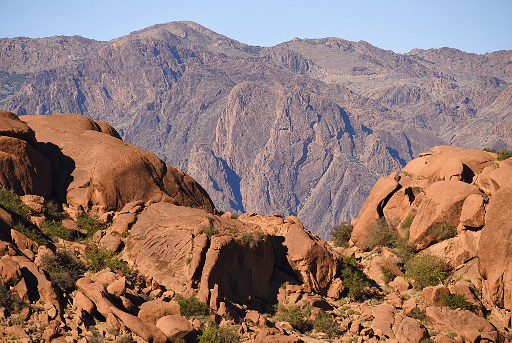 The Lion's Face, famous rock formation viewed from hills surrounding Tafraout, Morocco, North Africa, Africa