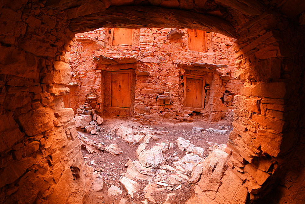 Inside walls of the Berber granary, Agadir Tashelhit, over 700 years old, Anti-Atlas mountains, Morocco, North Africa, Africa