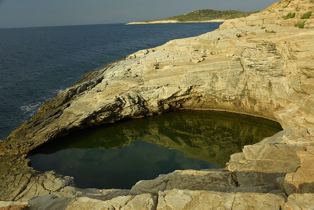 Giola Lagoon, a natural rocky pool, Thassos, Greek Islands, Greece, Europe
