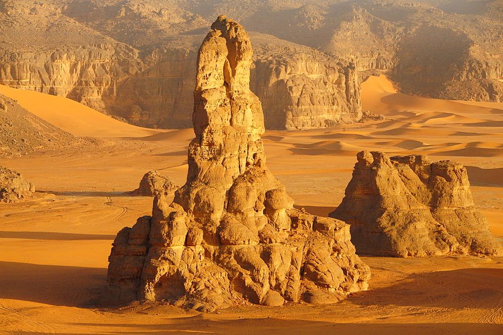 Rock formation in Tadrart, Sahara desert, Algeria, Africa