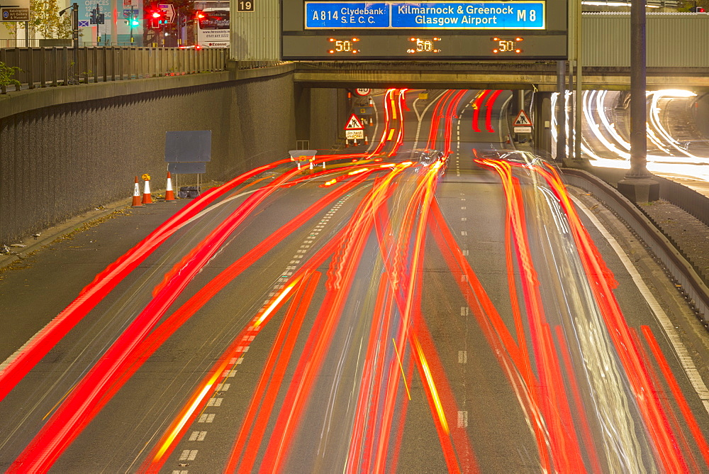 City Centre M8 motorway traffic at night, Glasgow, Scotland, United Kingdom, Europe