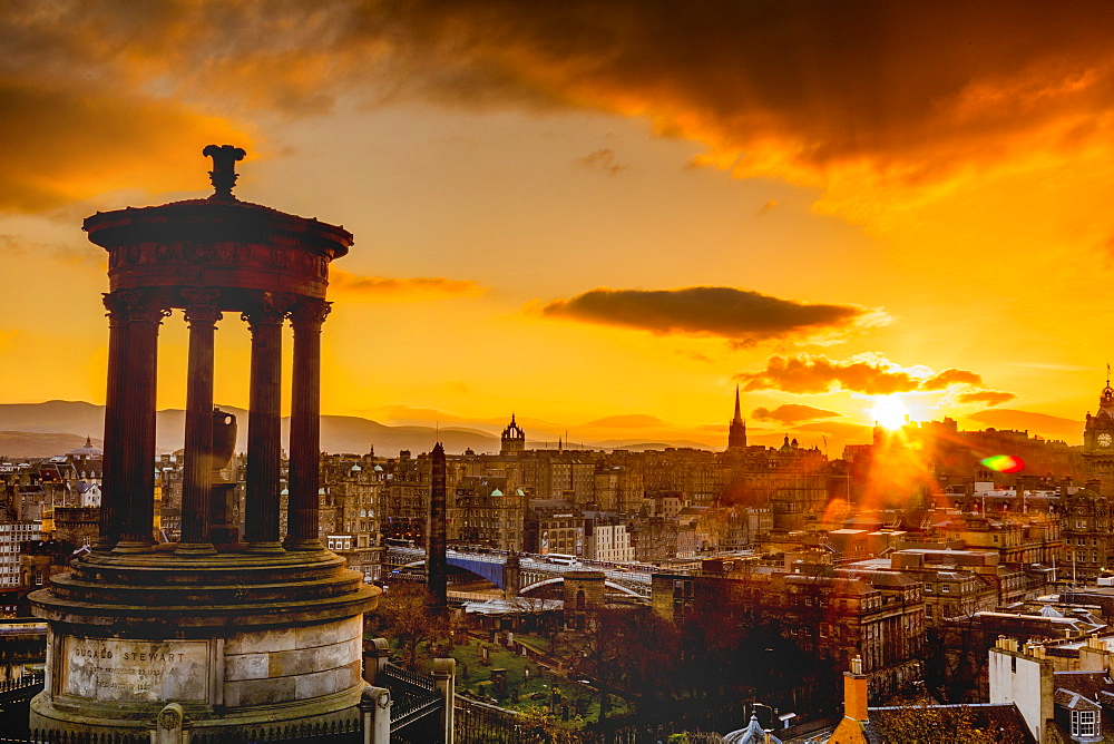 Edinburgh sunset view from Calton Hill, Dugald Stewart Monument, Edinburgh, Scotland, United Kingdom, Europe