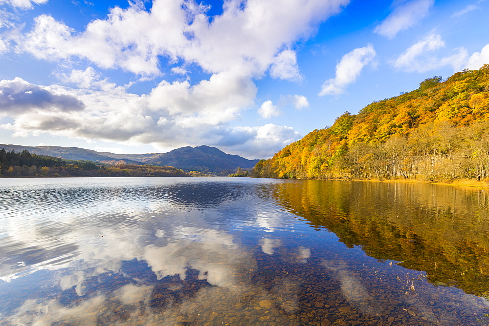 Loch Achray and Ben Venue, Autumn Colours, Scotland, United Kingdom, Europe.