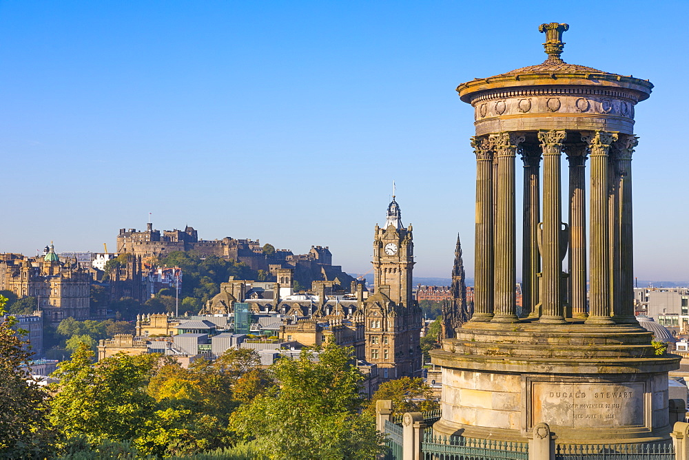 Edinburgh, city centre skyline, Dugald Stewart Monument, Midlothian, Scotland, United Kingdom, Europe.