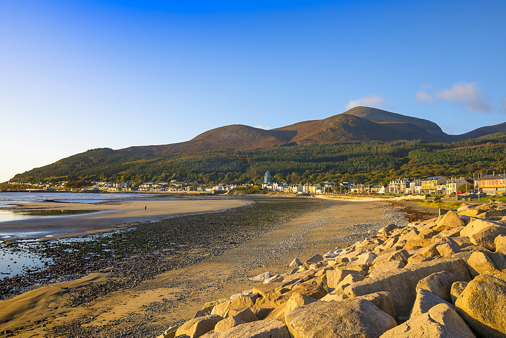 Sea defences, Newcastle Beach, Mourne Mountains, South Down Coast, Northern Ireland, United Kingdom, Europe.