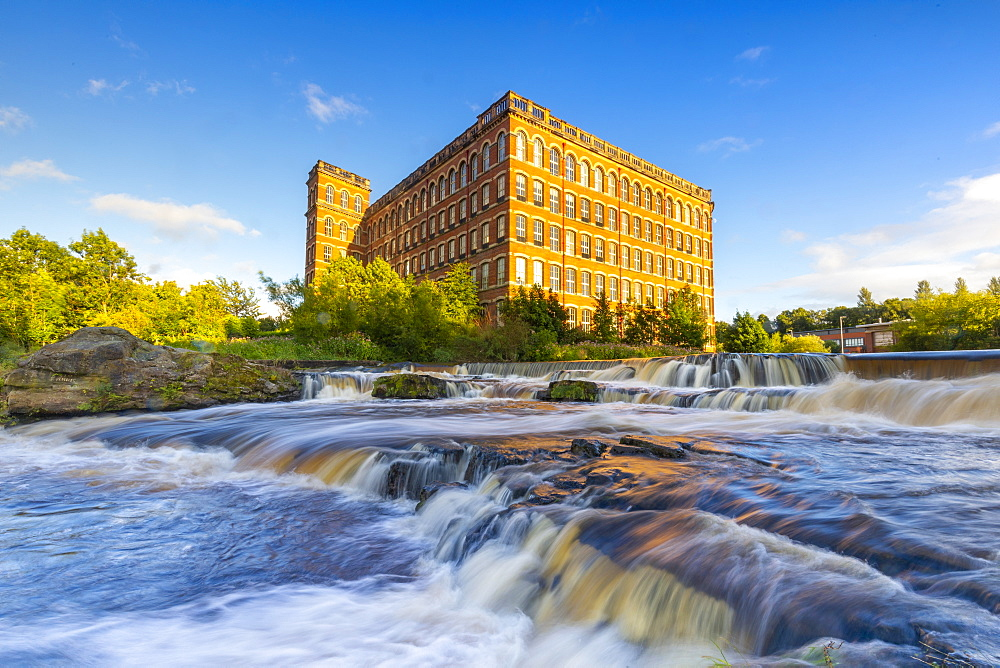 Anchor Mill and waterfall on the River Cart, Paisley, Renfrewshire, Scotland, United Kingdom, Europe
