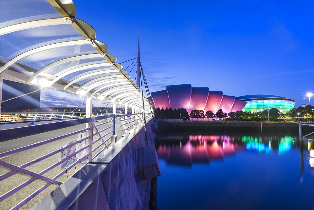 Bell's Bridge, the Armadillo, the SSE Hydro and the River Clyde, Pacific Quay, Glasgow, Scotland, United Kingdom, Europe - 1237-359