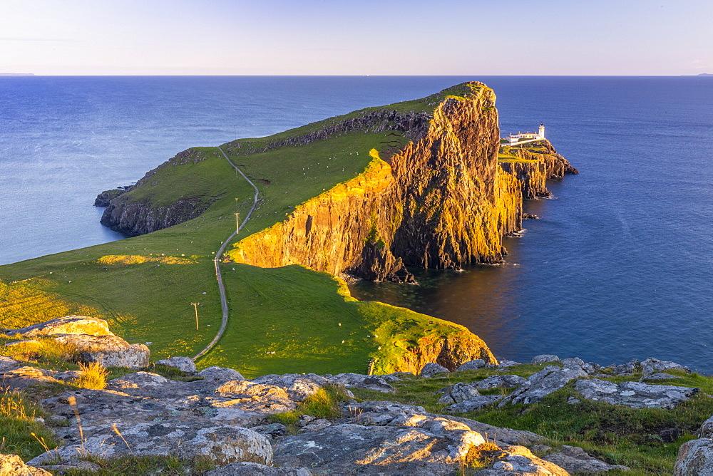 Neist Point and lighthouse, Glendale, Isle of Skye, Inner Hebrides, Highlands and Islands, Scotland, United Kingdom, Europe