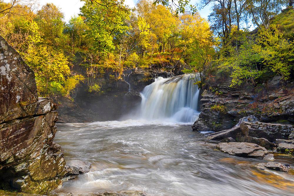Waterfall, Falls of Falloch, River Falloch, Glen Falloch, Stirlingshire, Scotland, United Kingdom, Europe - 1237-385