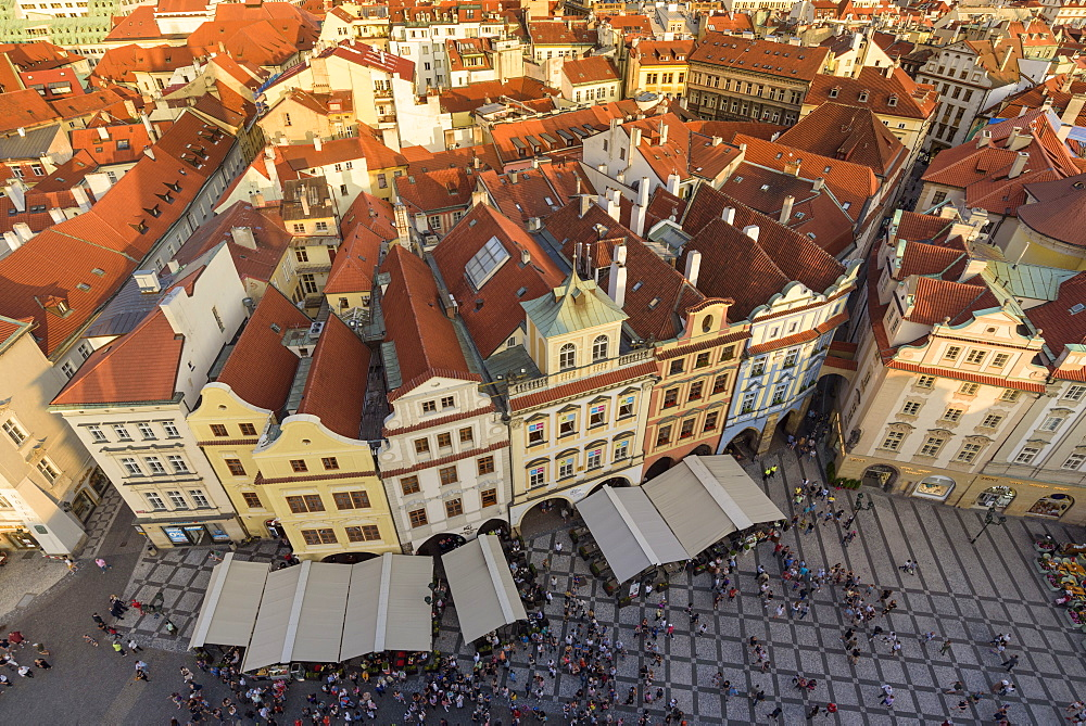 View of Prague's historic Old Town Square from Old Town Hall with rooftops and pedestrians below, UNESCO World Heritage Site, Prague, Czech Republic, Europe - 1241-137
