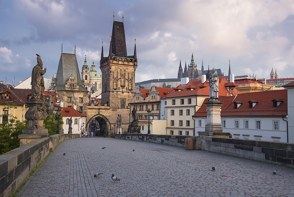 Charles Bridge with Lesser Towers and Prague Castle at sunrise, Prague, Czech Republic
