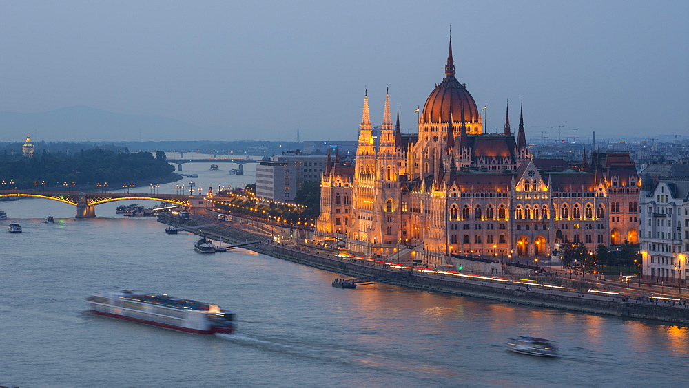 Hungarian Parliament at night on the River Danube, UNESCO World Heritage Site, Budapest, Hungary, Europe