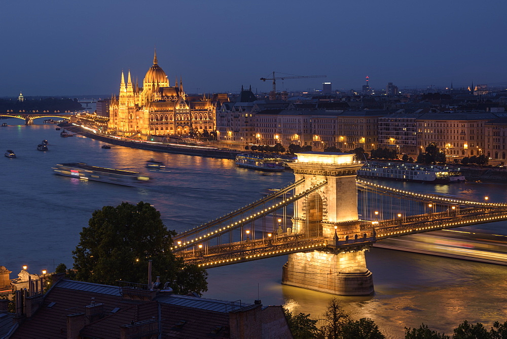 River Danube at night with Chain Bridge and Hungarian Parliament, UNESCO World Heritage Site, Budapest, Hungary, Europe - 1241-145