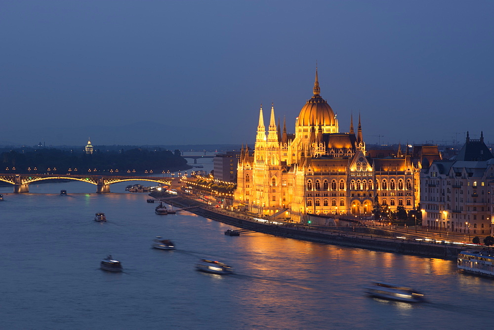 Hungarian Parliament at night on the River Danube, UNESCO World Heritage Site, Budapest, Hungary, Europe - 1241-146