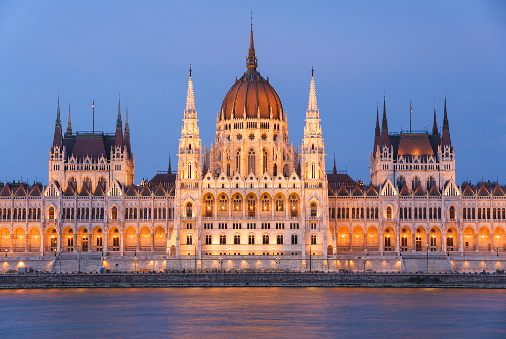 Hungarian Parliament at night on the River Danube, UNESCO World Heritage Site, Budapest, Hungary, Europe - 1241-147