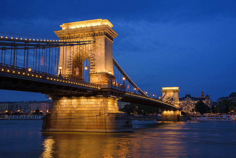 City at night with Chain Bridge and Danube River, UNESCO World Heritage Site, Budapest, Hungary, Europe - 1241-149