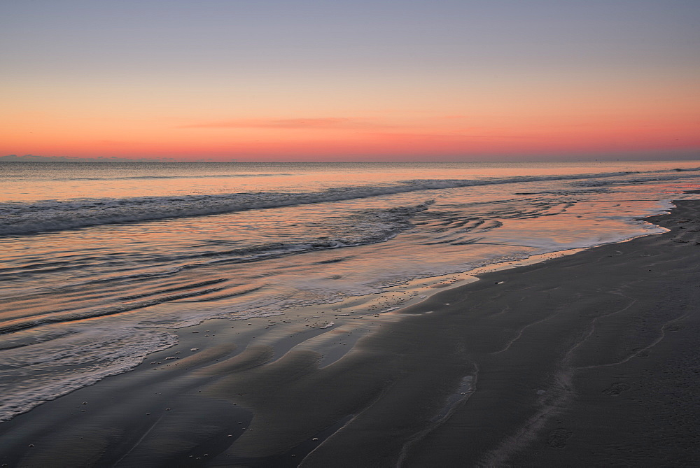 Sunrise and sandy beach with ocean waves, Sunset Beach, North Carolina - 1241-163