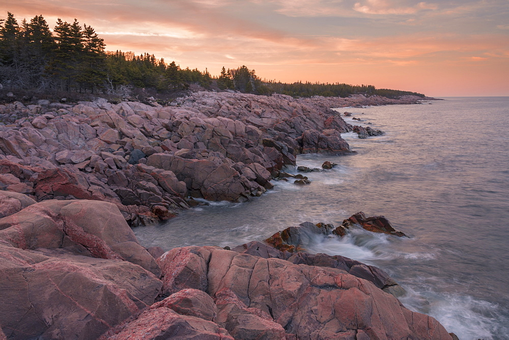 Waves and rocky coastline at sunset, Lackies Head and Green Cove, Cape Breton National Park, Nova Scotia, Canada, North America