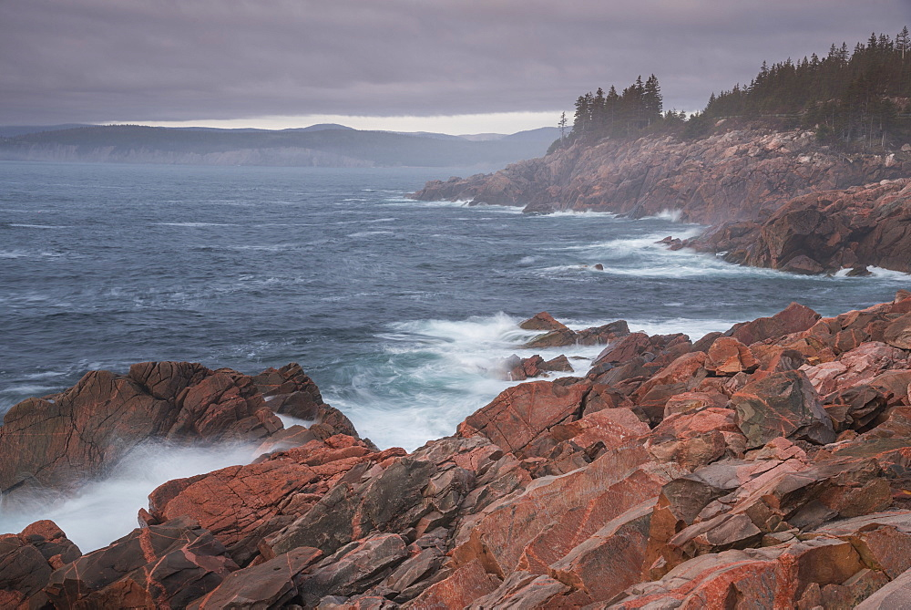 Waves crashing on rocks, Green Cove Look Off, Lackies Head, Cape Breton National Park, Nova Scotia, Canada, North America