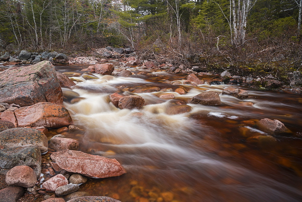 Creek flowing near Mary Ann Falls, Cape Breton Highlands National Park, Nova Scotia, Canada, North America