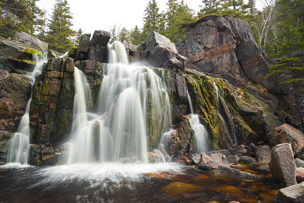 Black Brook Cove Beach Waterfall, Cape Breton Island, Nova Scotia, Canada, North America