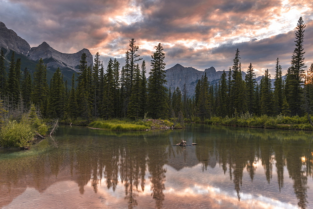 Sunset over Ha Ling Peak and Mount Rundle at Policeman's Creek, Canmore, Alberta, Canada, North America - 1241-190