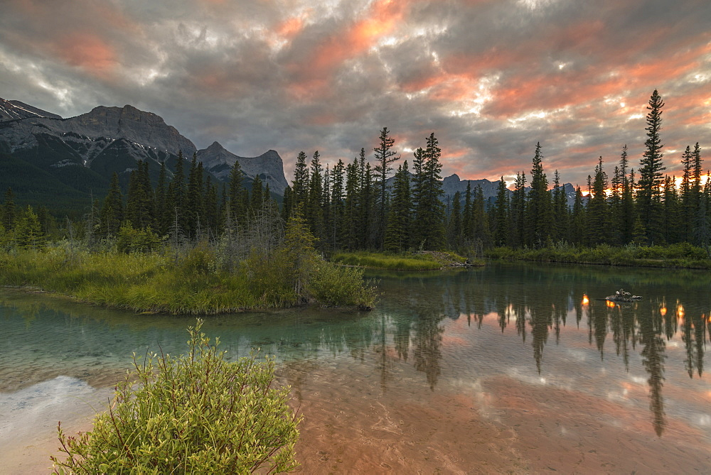 Sunset over Ha Ling Peak and Mount Rundle at Policeman's Creek, Canmore, Alberta, Canada, North America - 1241-191