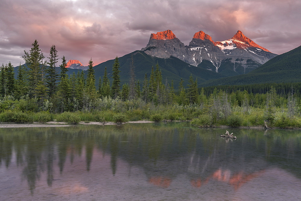 Sunset and Alpenglow on the peaks of Three Sisters, Canmore, Alberta, Canadian Rockies, Canada, North America - 1241-192