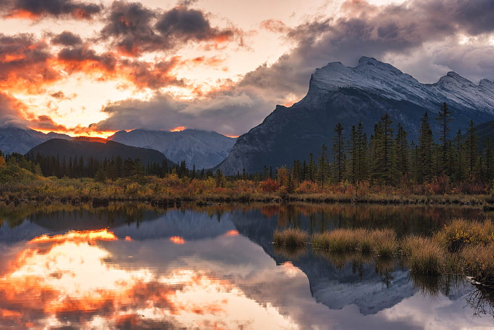 Sunrise and storm clouds at Vermillion Lakes with Mount Rundle in autumn, Banff National Park, UNESCO World Heritage Site, Alberta, Rocky Mountains, Canada, North America - 1241-194