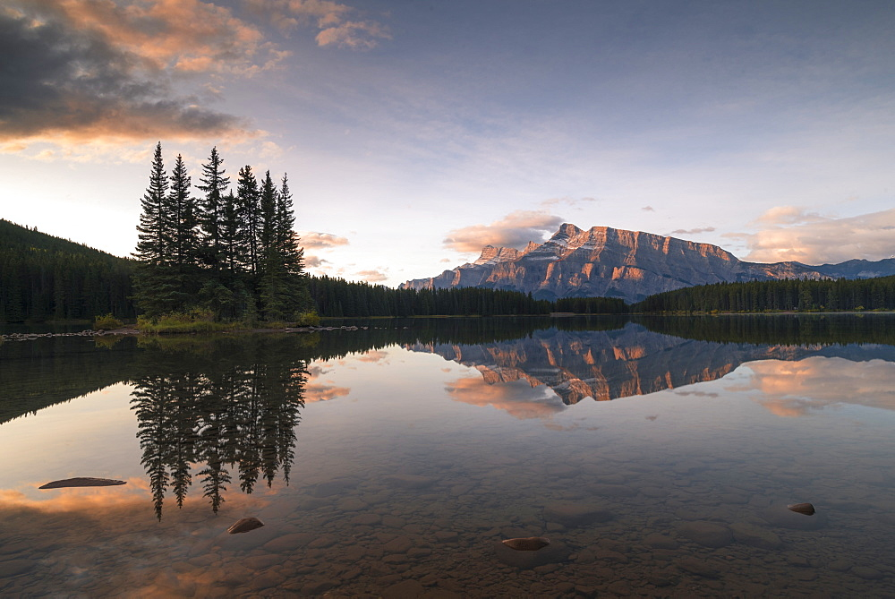 Sunrise at Two Jack Lake with Mount Rundle on the horizon, Banff National Park, UNESCO World Heritage Site, Alberta, Rocky Mountains, Canada, North America - 1241-204